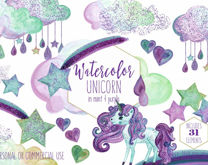 MINT & PURPLE UNICORN Clipart Commercial Use Clip Art Watercolor Hearts Purple Confetti Unicorn Rain Clouds Shooting Stars Birthday Graphics