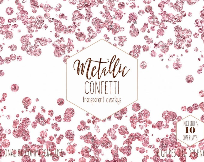 BLUSH PINK CONFETTI Overlay Clipart Commercial Use Clip Art Rose Gold Confetti Borders Burgundy Wedding Party Invitation Digital Graphics
