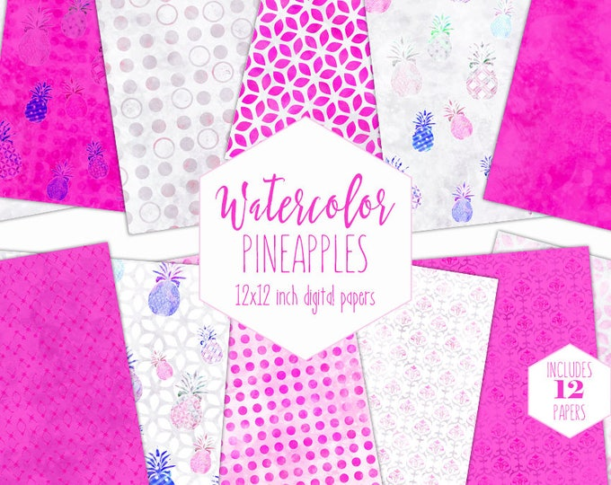 HOT PINK PINEAPPLE Digital Paper Pack Commercial Use Tropical Watercolor backgrounds Beach Scrapbook Papers Bright Pink Geometric Patterns