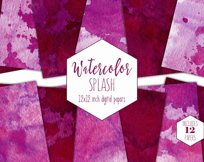 BURGUNDY WATERCOLOR Digital Paper Pack Commercial Use Pink Splatter Backgrounds Paint Splash Scrapbook Papers Watercolour Textures Clipart