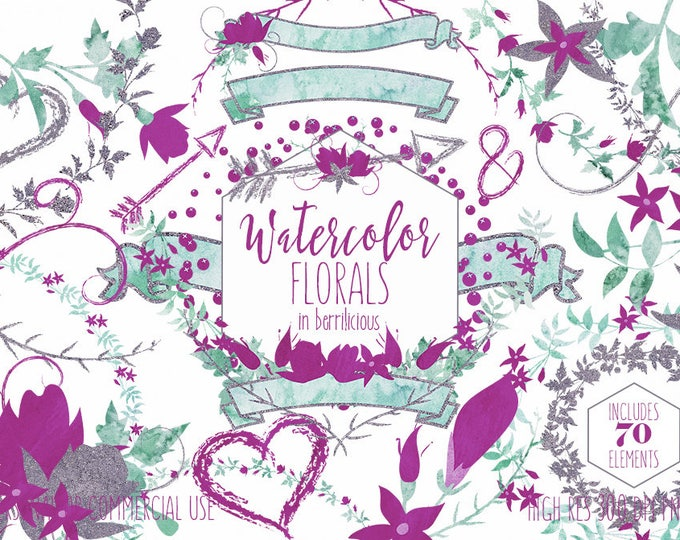 WATERCOLOR FLORAL WREATH Clipart Commercial Use Clip Art Wedding Flowers Silver Teal Mint & Purple Flower Bouquets Banners Arrow Graphics