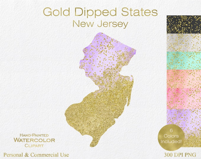 WATERCOLOR & GOLD New JERSEY Clipart Commercial Use Clipart United States Shape Wedding Clipart Gold Confetti Dust New Jersey Clip Art