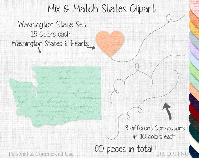 FAMILY COUPLES State to State Clipart Commercial Use Clipart Mix & Match Home State Wedding Graphics Washington State Home Town Map clipart