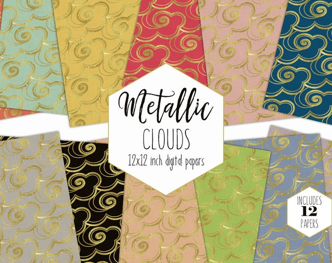 GOLD METALLIC CLOUD Digital Paper Pack Sky Backgrounds Gold Foil Swirl Cloud Scrapbook Papers Celestial Patterns Commercial Use Clipart