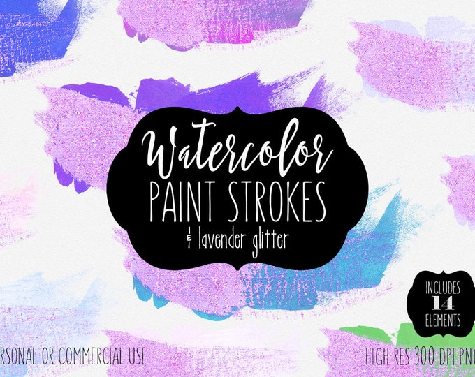 LAVENDER WATERCOLOR BRUSH Strokes Clipart Commercial Use Clipart 14 Watercolor Paint Splashes Wash Purple Aqua Glitter Textures Logo Design