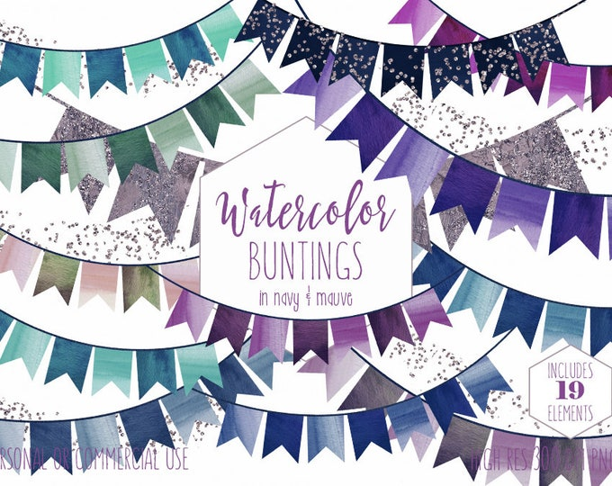 PARTY BUNTING BANNER Clipart Commercial Use Clip Art Watercolor Double Tail Buntings Navy Blue & Purple Glitter Confetti Birthday Graphics