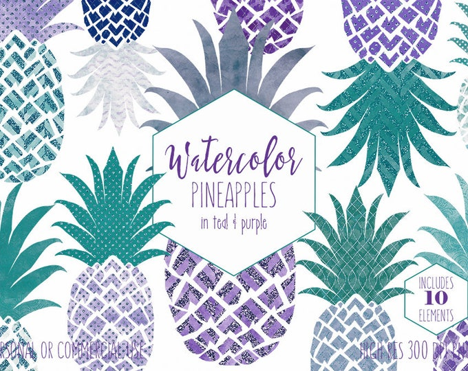 PINEAPPLE CLIPART Commercial Use Clip Art Fun Tropical Geometric Pineapples Teal & Purple Glitter Polka Dot Chevron Planner Sticker Graphics