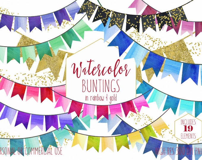 WATERCOLOR BUNTING BANNERS Clipart Commercial Use Clip Art Rainbow Buntings Flag Banners & Gold Confetti Birthday Party Invitation Graphics