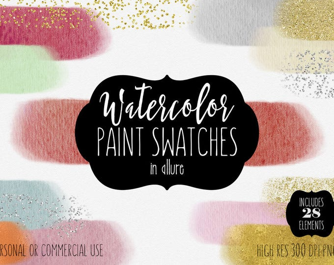 WATERCOLOR & GOLD Paint Strokes Clipart Commercial Use Clip Art Watercolor Brush Rectangles Silver Rose Gold Confetti Textures Logo Graphics