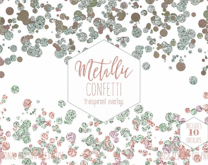 PEACH & MINT CONFETTI Border Clipart Commercial Use Party Clip Art Transparent Overlays Metallic Gems Wedding Invitation Digital Graphics
