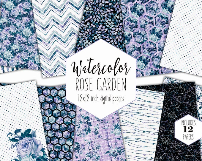 NAVY WATERCOLOR FLORAL Digital Paper Pack Commercial Use Backgrounds Purple Roses Blue Scrapbook Papers Shabby Chic Wood Flower Dot Patterns