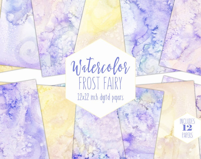 PASTEL YELLOW WATERCOLOR Digital Paper Pack Commercial Use Backgrounds Lavender Purple Scrapbook Papers Watercolour Textures Baby Clipart