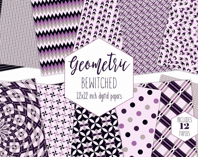PURPLE & BLACK GEOMETRIC Digital Paper Pack Mandala Backgrounds Plaid Scrapbook Halloween Patterns Party Printable Commercial Use Clipart