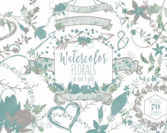 WATERCOLOR WEDDING Clipart Commercial Use Clip Art Floral Wreath Teal & Gold Metallic Flower Bouquets Word Art Banners Hearts Arrow Graphics