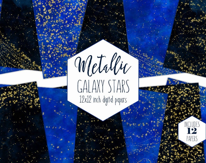 GOLD GALAXY STARS Digital Paper Pack Navy Blue Watercolor Celestial Backgrounds Gold Foil Scrapbook Paper Sky Pattern Commercial Use Clipart