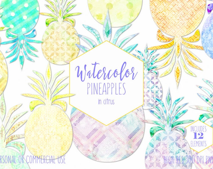 WATERCOLOR PINEAPPLES Clipart Commercial Use Clip Art Fun Citrus Yellow Watercolour Pineapple Clipart 12 Tropical Pineapple Planner Graphics