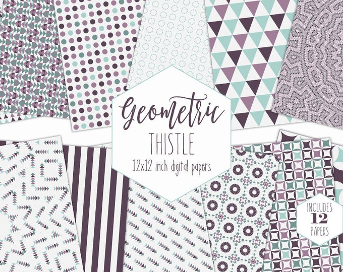 MINT & PURPLE Digital Paper Pack Mandala Backgrounds Bohemian Scrapbook Papers Tribal Arrow Triangle Patterns Party Printable Boho Clipart