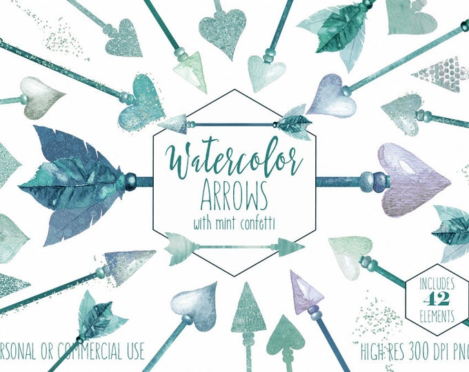 TEAL MINT ARROW Clipart Commercial Use Clip Art 42 Watercolor Bohemian Feather Aqua Boho Chic Valentine's Day Tribal Arrow Wedding Graphics