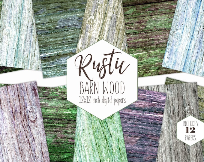 OLD BARN WOOD Digital Paper Pack Chipped Painted Wood Backgrounds Distressed Grunge Scrapbook Papers Rustic Wood Grain Texture Clipart