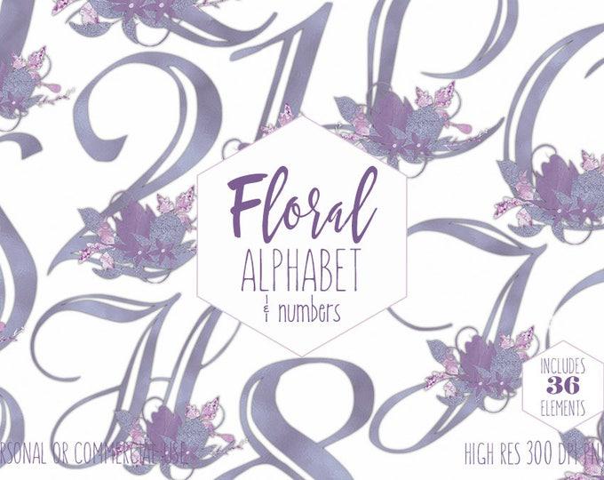 PURPLE FOIL ALPHABET Clipart for Commercial Use Floral Monogram Clip Art Wedding Letters & Numbers Lavender Flowers Font Digital Graphics