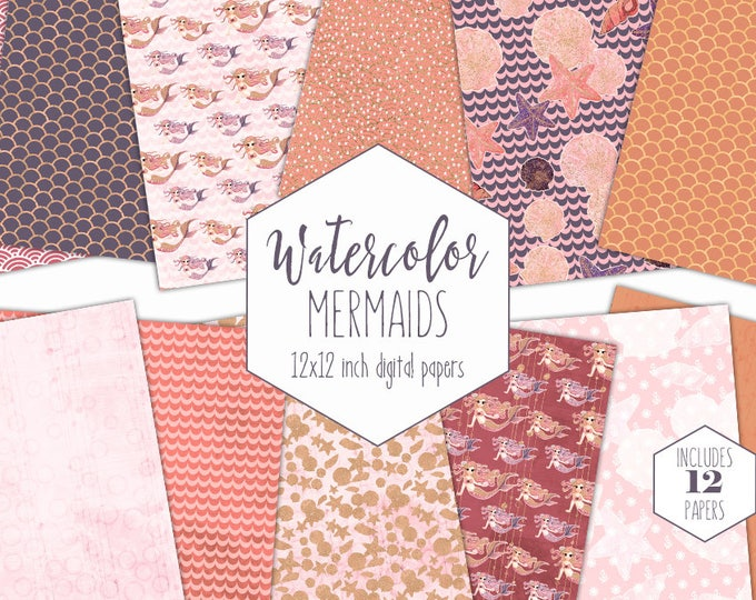 PEACH MERMAID DIGITAL Paper Pack Commercial Use Blush Under the Sea Backgrounds Purple Mermaid Scale Scrapbook Paper Ocean Birthday Patterns