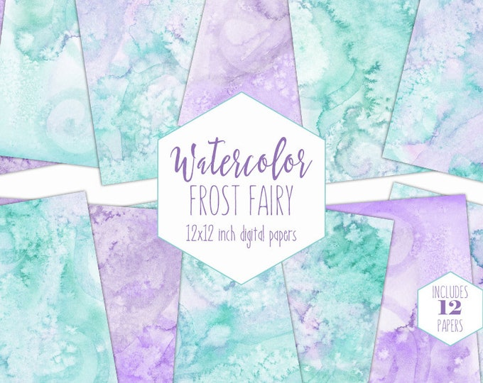 MINT & LAVENDER WATERCOLOR Digital Paper Pack Commercial Use Backgrounds Purple Frozen Scrapbook Papers Watercolour Textures Baby Clipart