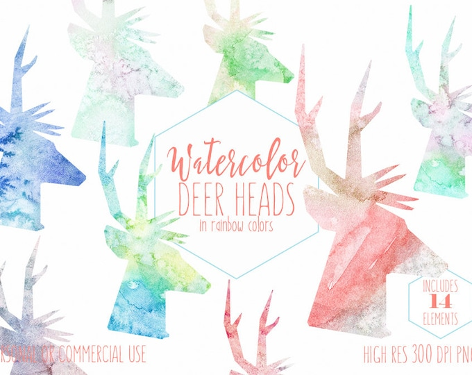 WATERCOLOR DEER HEAD Clipart Commercial Use Clip Art Fun Reindeer Antlers Watercolour Deer Clipart Watercolor Texture Buck Head Silhouettes