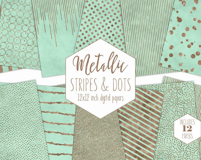 MINT & ROSE GOLD Digital Paper Pack Stripe Backgrounds Metallic Foil Confetti Wedding Scrapbook Paper Polka Dot Baby Shower Party Clipart