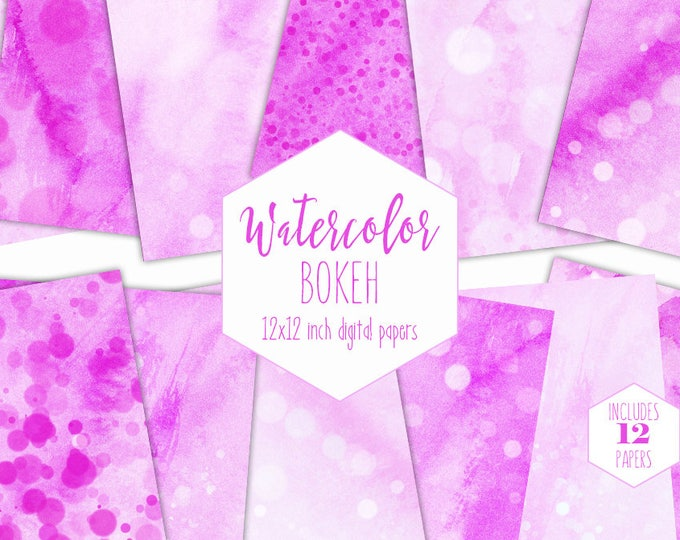 PINK WATERCOLOR BUBBLES Digital Paper Pack Commercial Use Backgrounds Bokeh Scrapbook Papers Hot Pink Dots Real Watercolour Wash Textures