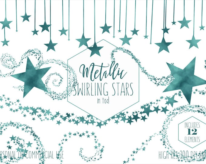 TEAL STAR CLIPART Commercial Use Birthday Clip Art Teal Green Swirling Stars Border Banner Celestial Sky Christmas Holiday Digital Graphics