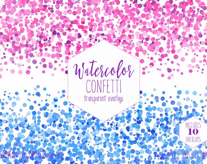 CONFETTI DOTS OVERLAY Clipart Commercial Use Clip Art 10 Watercolor Transparent Borders Purple Pink Blue Birthday Party Wedding Graphics