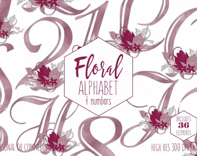 BURGUNDY FLORAL ALPHABET Clipart for Commercial Use Wedding Monogram Clip Art Violet Foil Letters & Numbers Flower Bouquet Digital Graphics