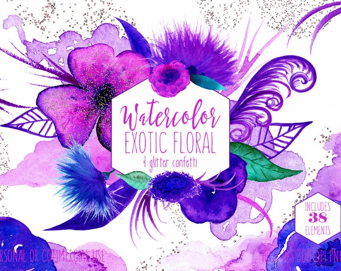 ROYAL PURPLE & BLUE Watercolor Floral Clipart Commercial Use Clip Art Watercolour Exotic Flowers with Rose Gold Confetti Paint Form Graphics