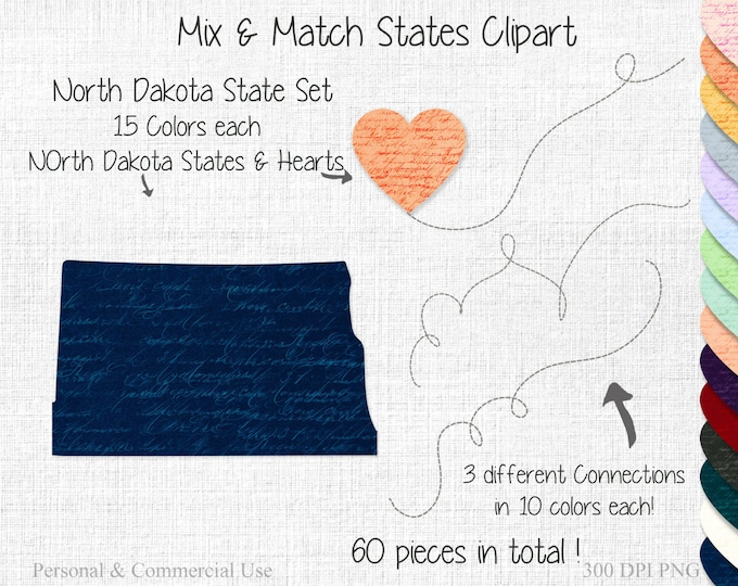 NORTH DAKOTA STATE to State Clipart Commercial Use Clipart Mix & Match State Wedding Clipart North Dakota Map Personalized Heart Map Clipart