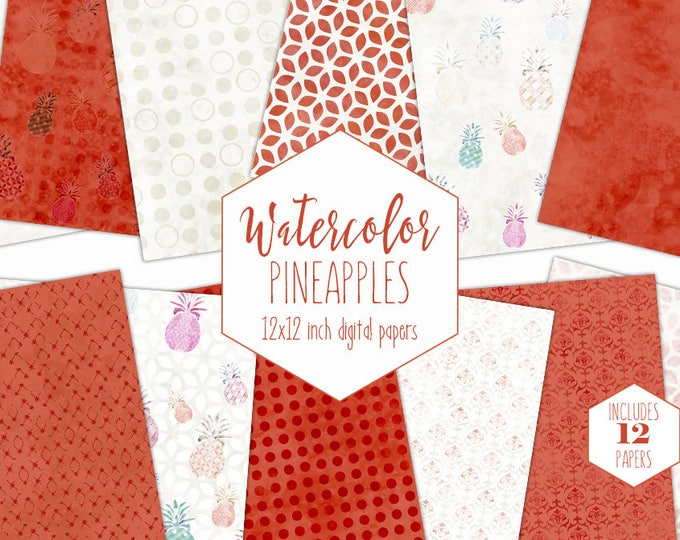 RUST PINEAPPLE WATERCOLOR Digital Paper Pack Commercial Use Tropical Backgrounds Coral Red Textures Beach Scrapbook Paper Geometric Patterns