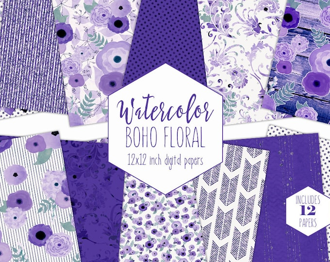 ULTRA VIOLET FLORAL Digital Paper Pack Royal Blue Purple Metallic Commercial Use Flower Backgrounds Wood Bohemian Wedding Scrapbook Patterns