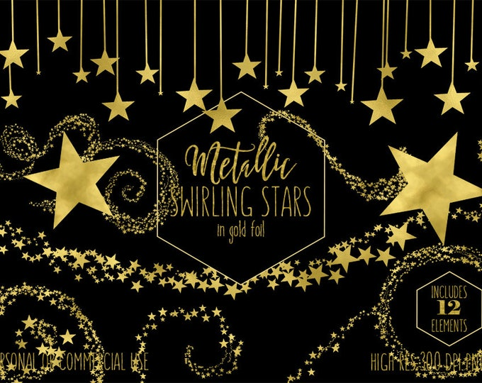 GOLD STAR CLIPART for Commercial Use Clip Art Metallic Gold Foil Star Image Celestial Night Sky Clipart Baby Shower Teacher Digital Graphics