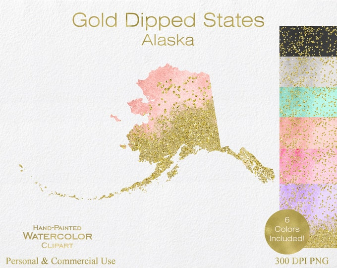 WATERCOLOR ALASKA STATE Clipart Commercial Use Clipart United States Shapes Wedding Clipart Alaska Map Graphic With Gold Dust & Confetti