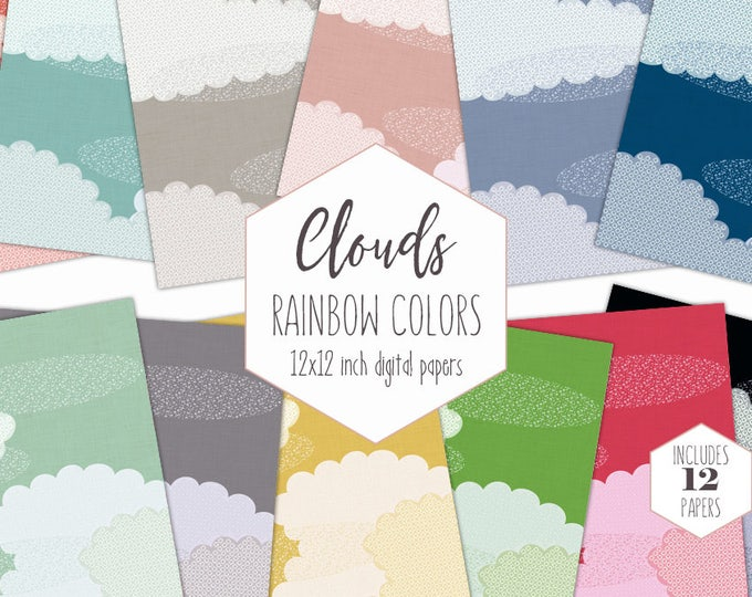 CUTE CLOUDS Digital Paper Pack Sky Backgrounds Rainbow Cloud Scrapbook Papers Cloud Patterns Kids Party Printable Commercial Use Clipart