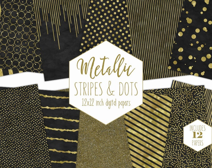 BLACK & GOLD FOIL Digital Paper Pack Stripe Backgrounds Metallic Confetti Scrapbook Paper Polka Dot Wedding Patterns Party Printable Clipart
