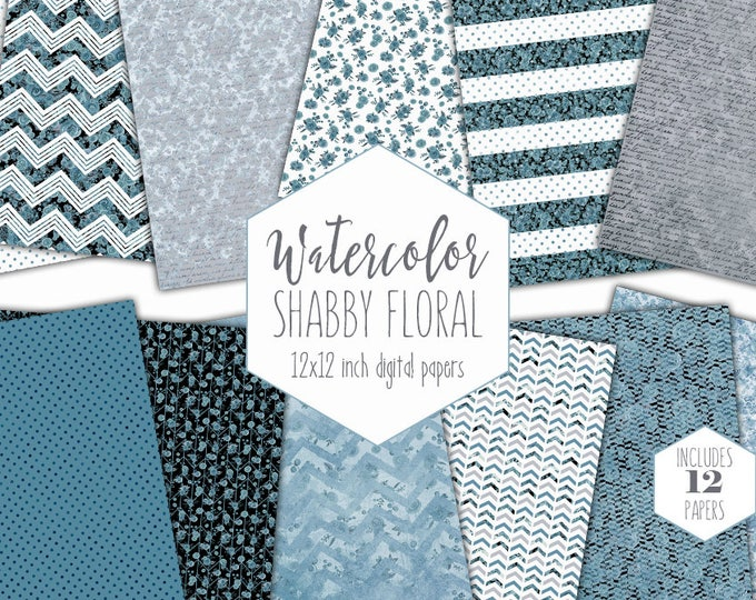 BLUE WATERCOLOR FLORAL Digital Paper Pack Commercial Use Shabby Chic Flower Backgrounds Gray Handwriting Script Scrapbook Paper Dot Patterns