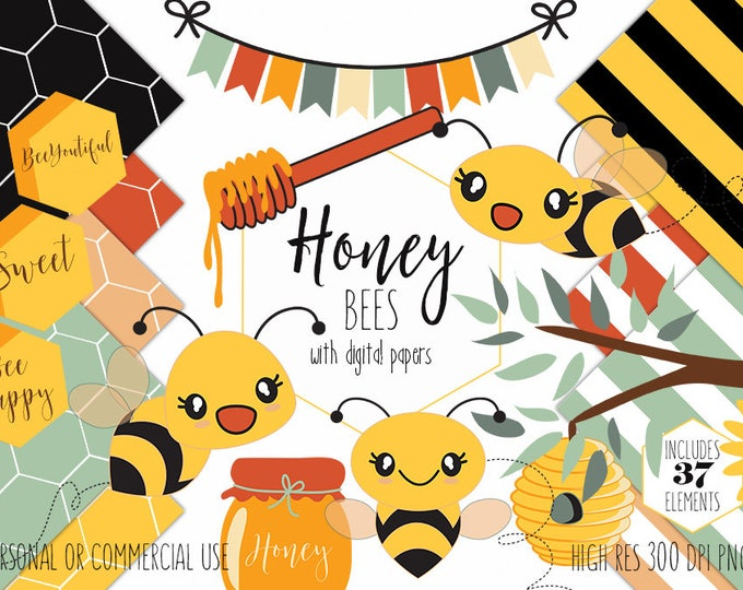 CUTE HONEY BEES Clipart for Commercial Use Planner Sticker Clip Art Bumble Bees Beehive Honeycombs Digital Background Papers Vector Graphics