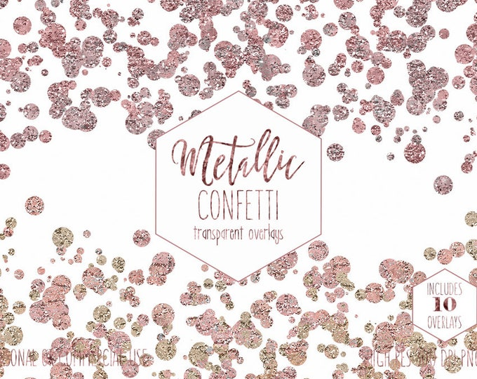 ROSE GOLD CONFETTI Clipart for Commercial Use Clip Art Transparent Overlay Borders Metallic Wedding Party Invitation Digital Image graphics
