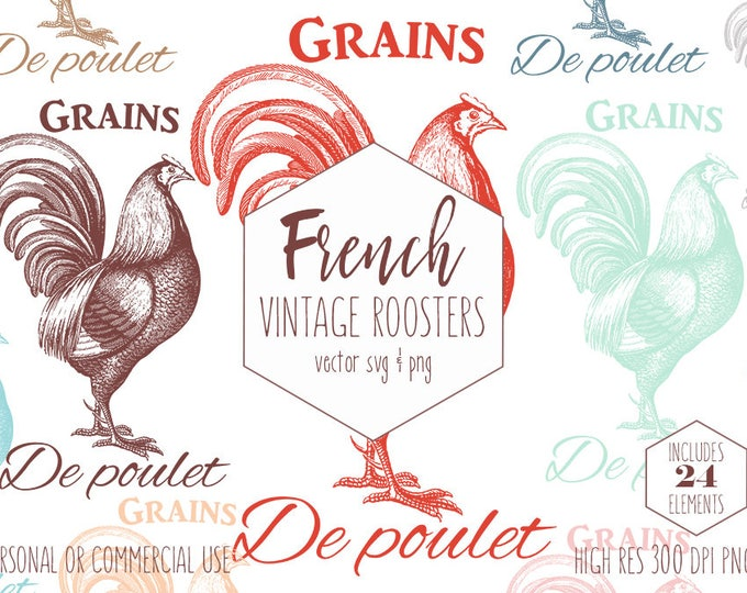 FRENCH ROOSTER CLIPART for Commercial Use Rustic Farm Animal Clip Art Chicken Feed Grain Sack Vintage Rooster Vector Digital Graphics