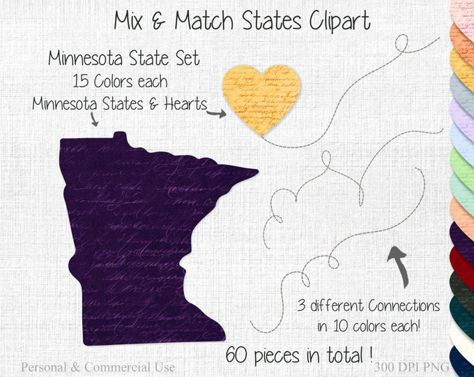 STATE to STATE WEDDING Clipart Commercial Use Clipart Mix & Match Home State Shapes Minnesota Map United States Shapes Valentine's Day
