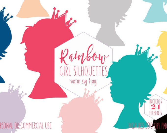 LITTLE GIRL SILHOUETTES Clipart for Commercial Use Girls Birthday Clip Art Baby Girl with Crown Rainbow Colors Vector Digital Graphics Svg