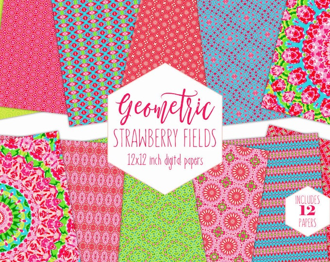 BRIGHT PINK SUMMER Digital Paper Pack Strawberry & Lime Green Backgrounds Mandala Scrapbook Paper Flower Blossom Pattern Little Girl Clipart