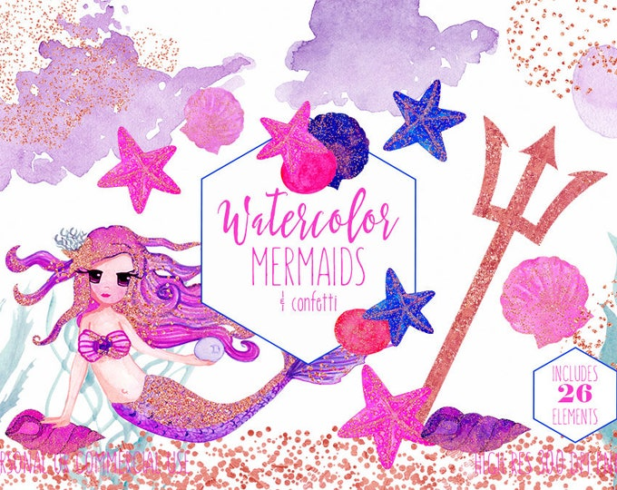 CUTE PINK MERMAID Clipart Commercial Use Clip Art Watercolor & Metallic Rose Gold Confetti Starfish Fun Ocean Beach Under the Sea Graphics