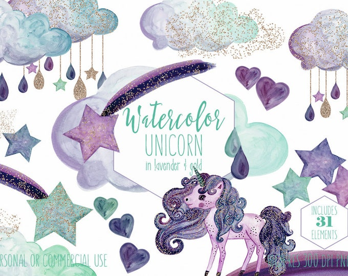 MINT & GOLD UNICORN Clipart Commercial Use Clip Art Metallic Gold Confetti Lavender Purple Watercolor Unicorn Rain Clouds Rainbow Graphics