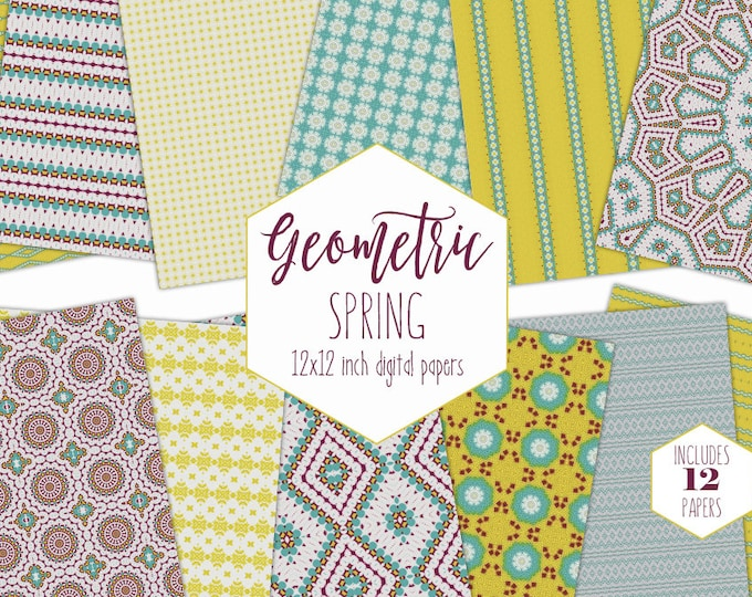 TEAL & YELLOW BOHEMIAN Digital Paper Pack Spring Floral Backgrounds Mandala Boho Scrapbook Papers Geometric Patterns Party Printable Clipart